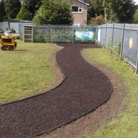Rubber Border in a garden