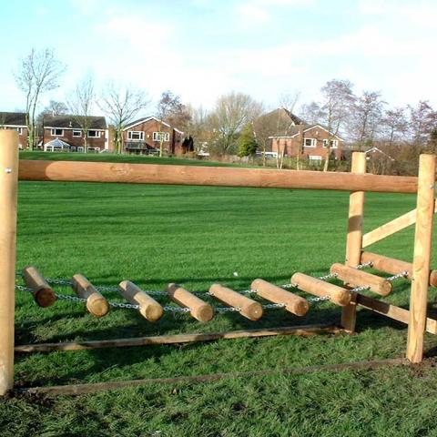 Log Bridge for adventure trails in schools and playgrounds