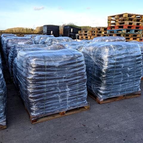 Pallets of rubber
