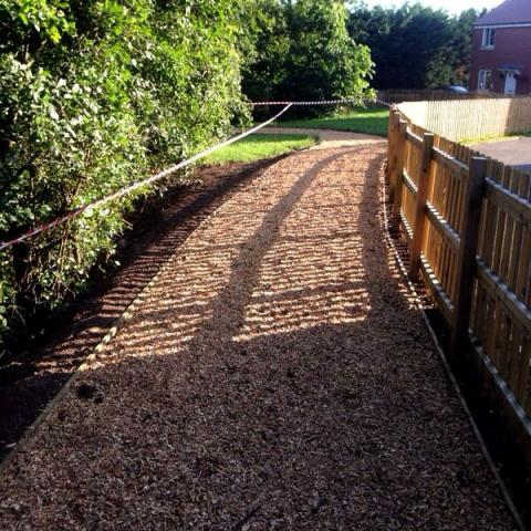 Play Area Softwood Chip shown in use as a path