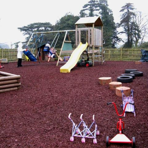 Mini rubber chippings in a playground area