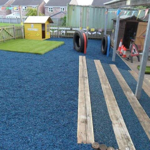 Rubber Chippings in a school play area