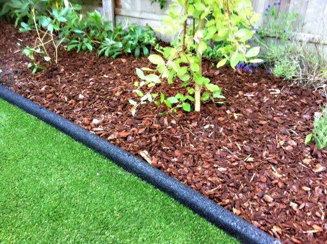 12 Metres X 150mm BLACK Garden Edging Fluted Plastic Border Edge